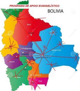 Um mapa de Bolívia e mais ou menos como funciona a estrutura de apoio ao evangelismo em Bolívia